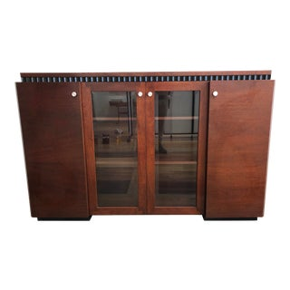 Contemporary Wood + Glass Credenza or Sideboard For Sale
