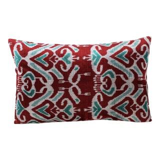Hand Loomed Silk Velvet Lumbar Pillow For Sale