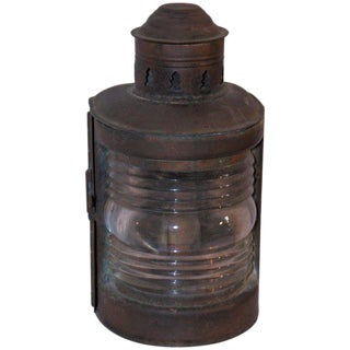 19th Century Patinated Copper Marine Lantern Light For Sale