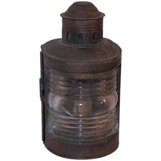 19th Century Patinated Copper Marine Lantern Light For Sale