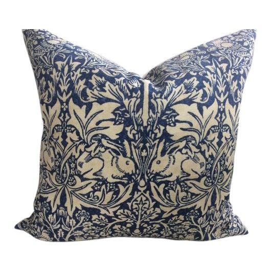 "William Morris ""Brer Rabbit"" in Indigo & Off-White Pillows - a Pair - Image 6 of 6"