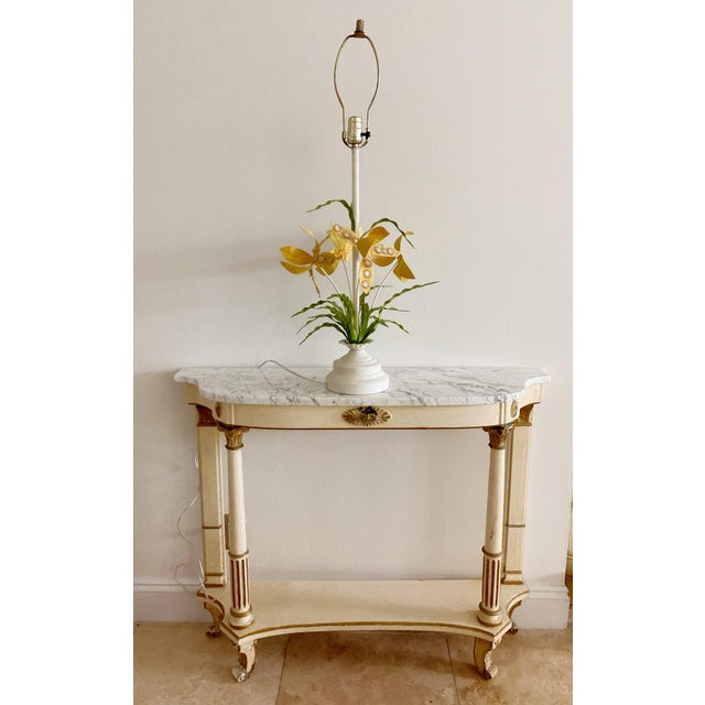 Regency Italian Tole Floral Table Lamp For Sale - Image 9 of 12