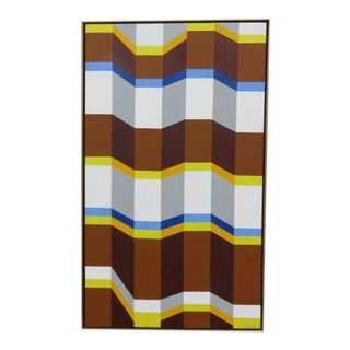 1980s Mid Century Modern Linear Geometric Acrylic Painting on Canvas by Sandra Lee Blumstein For Sale