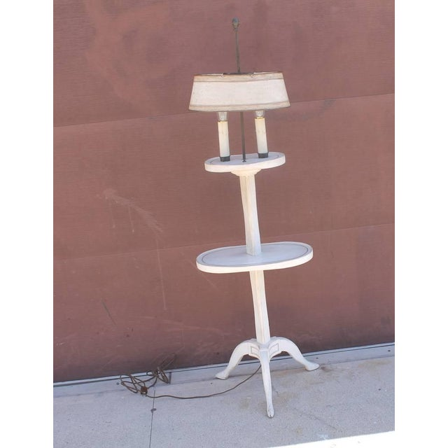 Amazing White Painted Floor Lamp with Tole Painted Tin Shade For Sale - Image 10 of 10
