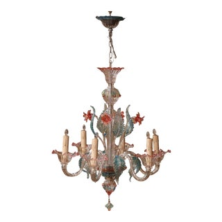 Mid-20th Century Italian Six-Light Blown Glass Murano Chandelier With Flowers For Sale