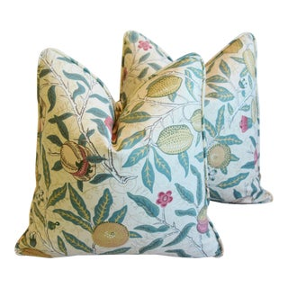 """William Morris & Company """"Fruit"""" Feather/Down Pillows 18"""" Square - Pair For Sale"""