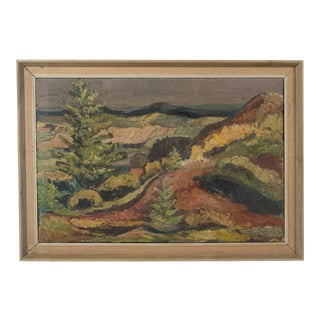 1961 Hilly Post Impressionist Farmlands Landscape by Poul Berg For Sale