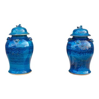 Royal Blue Asian Porcelain Vases - a Pair For Sale