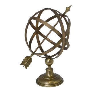 1960s Industrial Solid Brass Armillary Sphere For Sale