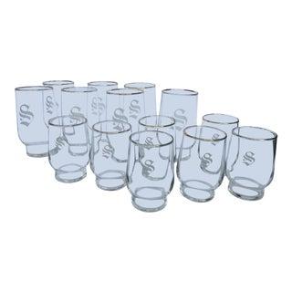 Mid-Century Gold-Rimmed Monogrammed Bar Glasses -Set of 14 For Sale