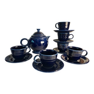 1992 Fiesta Navy Tea Set - 14 Pieces