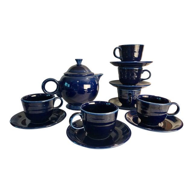 1992 Fiesta Navy Tea Set - 14 Pieces For Sale