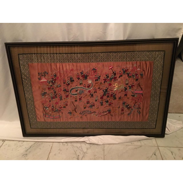 Peach Vintage Asian Framed Embroidered Silk Textile For Sale - Image 8 of 13
