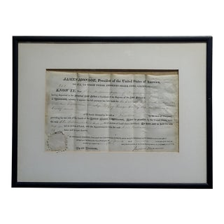 James Monroe -Us President -1823 Missouri Land Grant-Signed For Sale