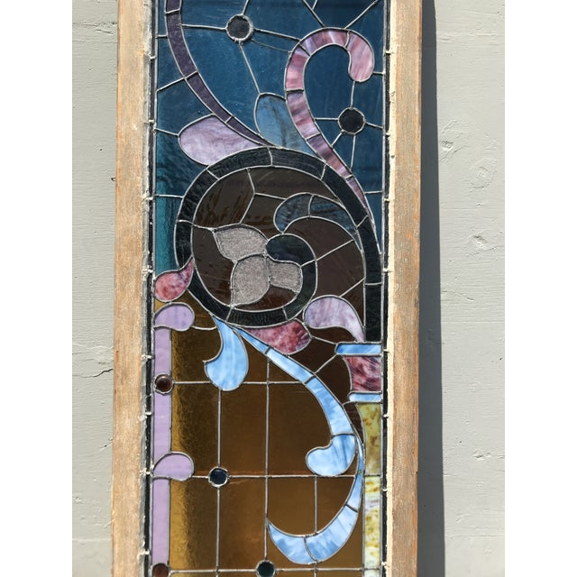 Glass Antique Stained Glass Window, Circa 1900s For Sale - Image 7 of 12