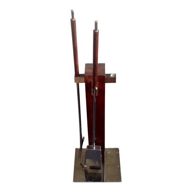 Alessandro Albrizzi Rosewood & Chrome Fireplace Tools For Sale