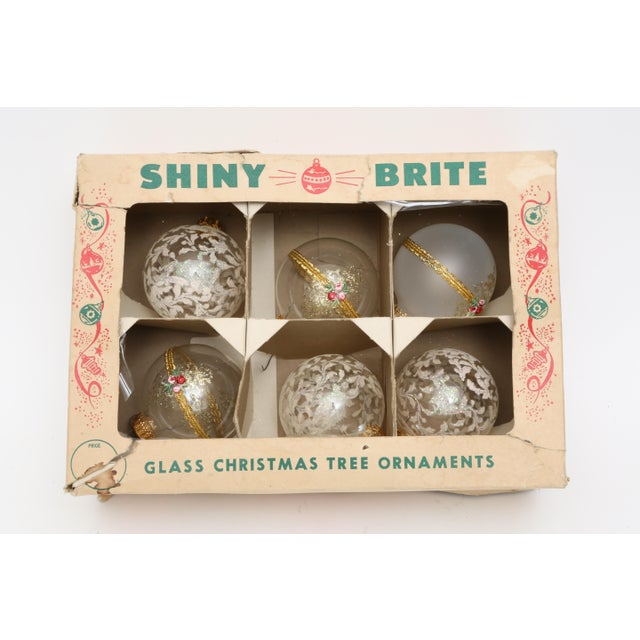 Glass 1960s Mid-Century White Christmas Ornaments w/Box - Set of 6 For Sale - Image 7 of 8