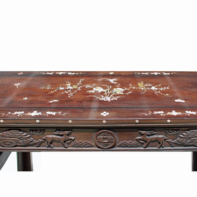 Brown Chinese Brown Huali Rosewood Scroll Inlay Deer Fortune Motif Altar Table For Sale - Image 8 of 9