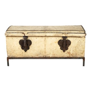 18th Century Italian Leather Clad Trunk For Sale