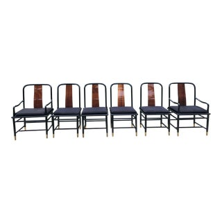 Late 20th Century Henredon Elan Kahala Wood & Black Lacquer Dining Chairs - Set of 6 For Sale
