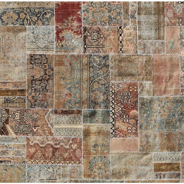 """Hand-Knotted Brown Patchwork Rug - 9'4"""" x 9'5"""" - Image 2 of 2"""