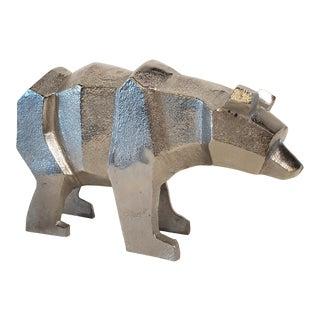 Cubist Style Aluminum Bear Sculpture For Sale