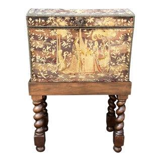 Antique Renaissance Aubusson Oak and Walnut Trunk Form Secretary Desk on Stand For Sale