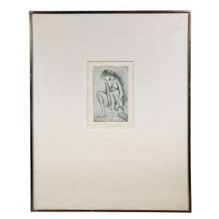 Framed Etching of a Nude Woman by Federico Cantu