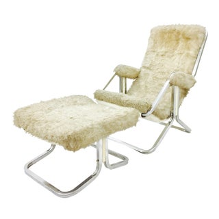 Mid-Century Modern Chrome Lounge Chair & Ottoman - A Pair