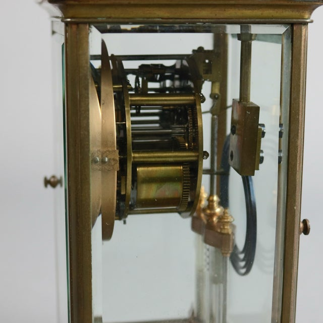 Traditional Antique Tiffany & Co. Crystal and Brass Regulator Mantel Clock, circa 1890 For Sale - Image 3 of 9