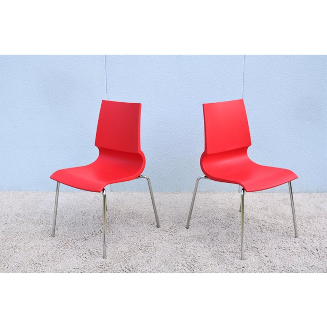 Red Italian Modern Marco Maran for Maxdesign Red Ricciolina Dining Chairs - Set of 6 For Sale - Image 8 of 13