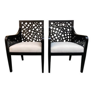 Ironies Circle Wood + Fabric Arm Chairs - a Pair For Sale