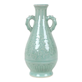 Vintage Celadon Pear Shaped Porcelain Vase For Sale
