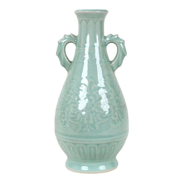 Vintage Celadon Pear Shaped Porcelain Vase For Sale