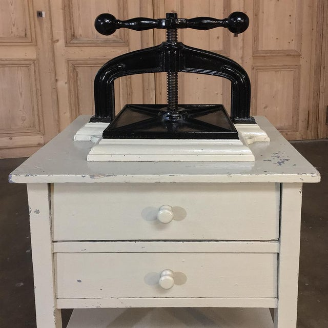 19th Century Cast Iron Paper Press on Painted Stand For Sale - Image 4 of 11