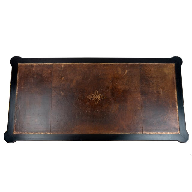 1940s Empire Black Writing Desk With Original Tooled Leather Top For Sale - Image 5 of 7