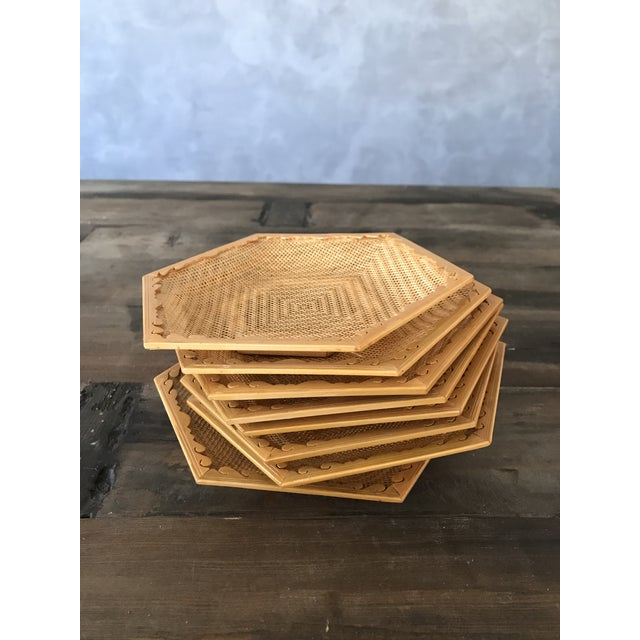 Wooden & Wicker Coasters - Set of 8 - Image 2 of 5