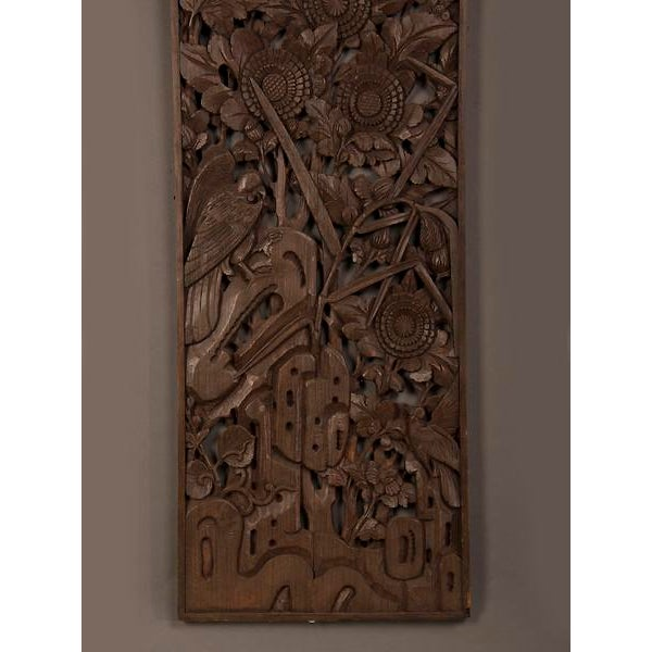 1900s Chinese Handsome Carved Birds And Foliage Motif Timber Panel For Sale In Houston - Image 6 of 6