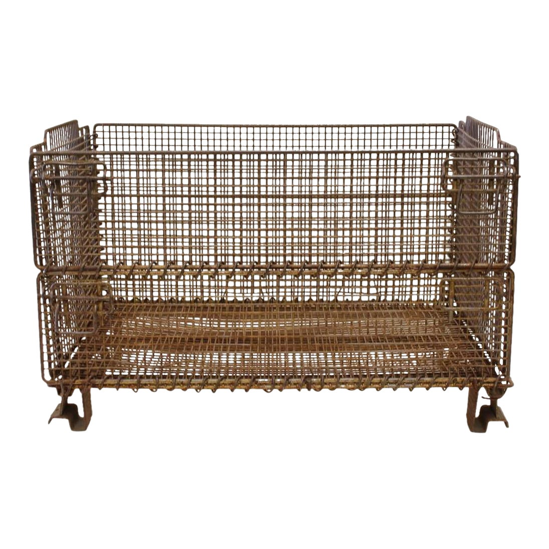 Collapsible Wire Basket   Original American Industrial Collapsible Wire Basket Chairish