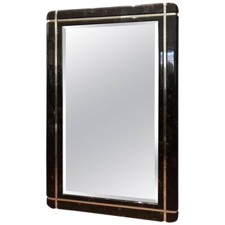 Marble and Brass Mid-Century Mirror in the Style of Karl Springer For Sale