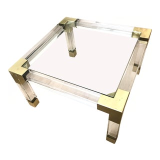 Mid-Century Modern Jonathan Adler Jacques Glass and Brass Cocktail Table