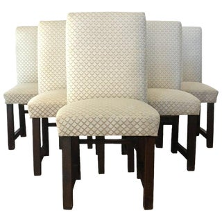 Set of Six Art Deco Dining Chairs With New Upholstery by Lizzo, Italy For Sale