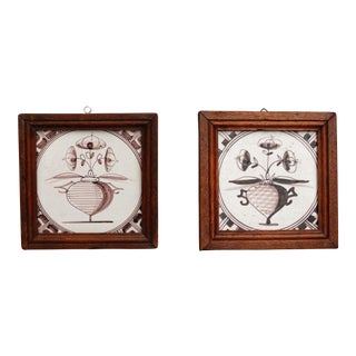 Antique Delft Polychrome Tiles, Set of 2 For Sale