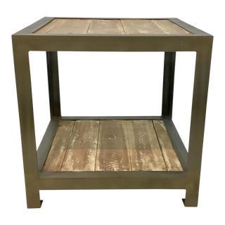 Organic Modern Aspen and Metal Side Table For Sale