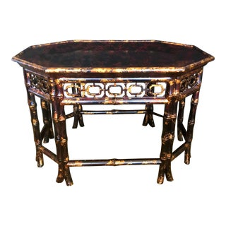 Maitland-Smith Chinoiserie Faux Bamboo and Tortoise Coffee Table For Sale