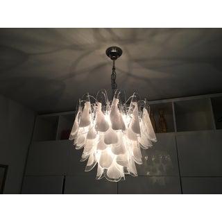 Italian White and Transparent Murano Glass Chrome Metal Frame Chandelier Sputnik Preview