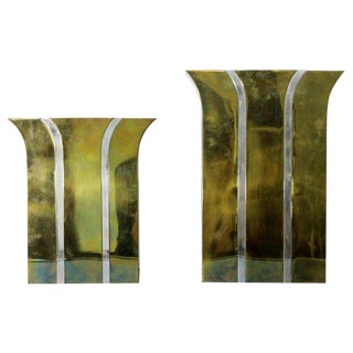 Italy, 1980s Contemporary Modernist Mixed Metal Brass Decorative Vases - a Pair For Sale