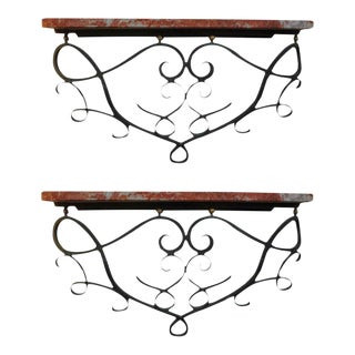 1940's French Art Deco Wrought Iron Wall Brackets-Near Pair For Sale