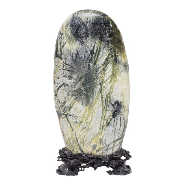 Greenery Meditation Stone in Carved Stand For Sale