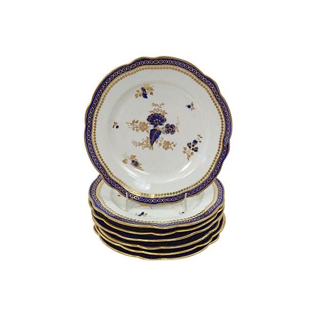 Antique English Porcelain Plates, C. 1780 - Set of 7 For Sale